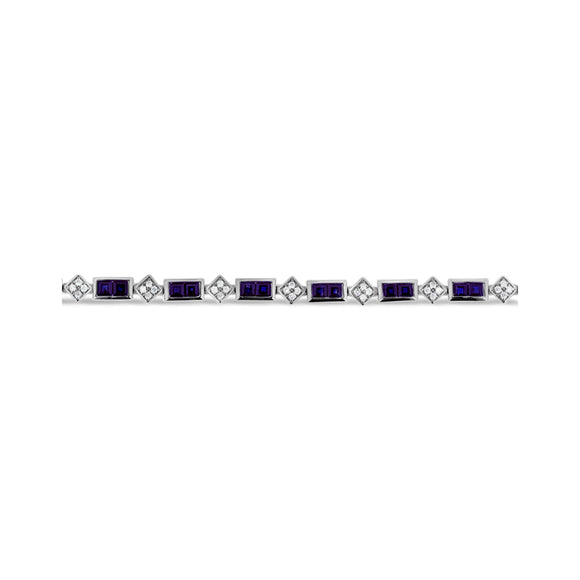 9ct White Gold Alternating Sapphire Diamond Bracelet