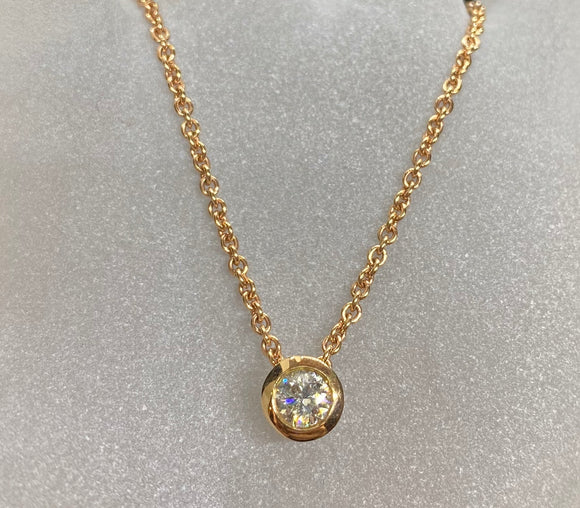 18ct Rose Gold Round Diamond Necklace