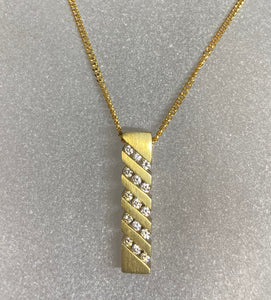 9ct Yellow Gold Bar Diamond Necklace