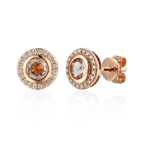 9ct Rose Gold Diamond Antique Stud Earrings