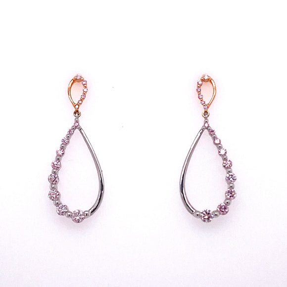 18ct Two Tone Gold Pink Argyle Diamond Stud Earrings