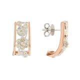 9ct Two Tone Gold Diamond Flower Filigree Stud Earrings