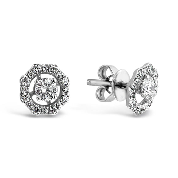 18ct White Gold Diamond Stud Earrings with Halo