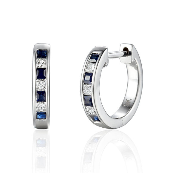 9ct White Gold Diamond Ruby or Sapphire Huggie Earrings