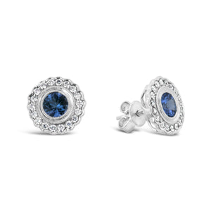 9ct White Gold Tanzanite Studs with Diamond Halo