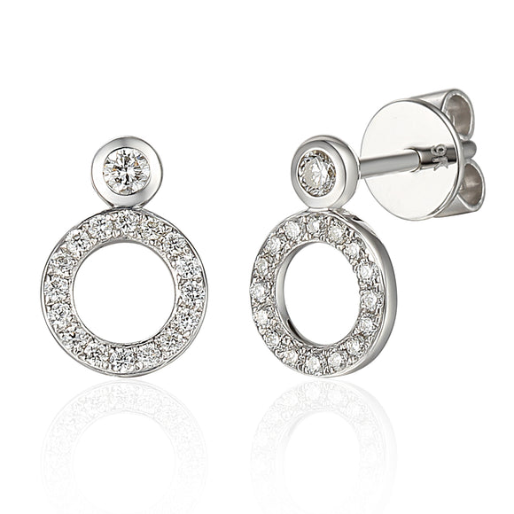 9ct White Gold Diamond Circe Stud Earrings