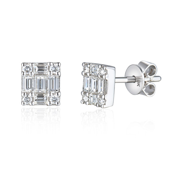 9ct White Gold Small Diamond Stud Earrings