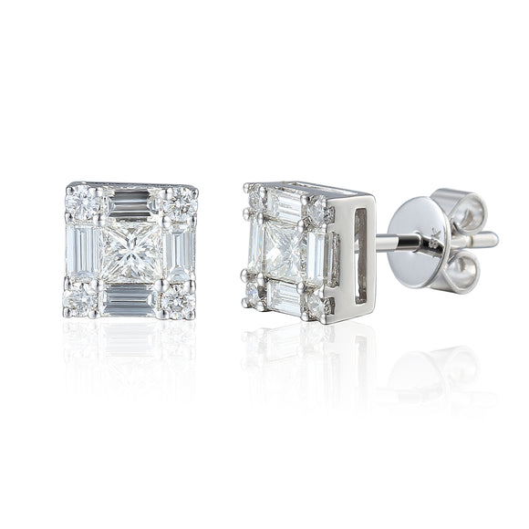 18ct White Gold Large Diamond Stud Earrings