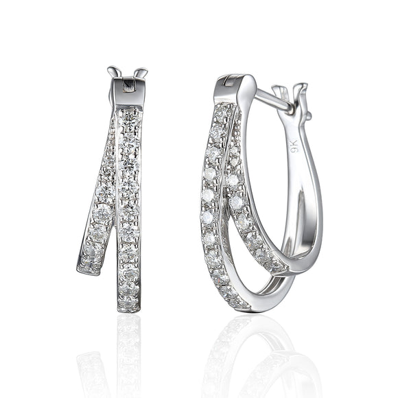 9ct White Gold Diamond Hoop Earrings