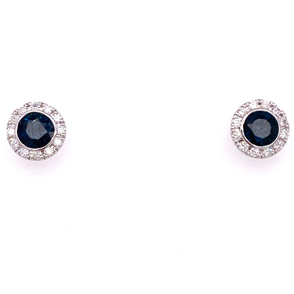 9ct White Gold Blue Sapphire Diamond Halo Stud Earrings