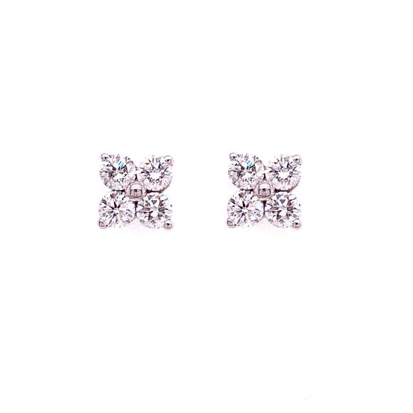 18ct White Gold Flower Diamond Studs
