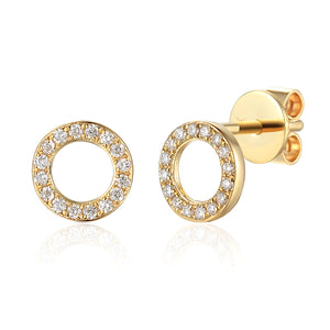 9ct Yellow Gold Diamond Circle Stud Earrings