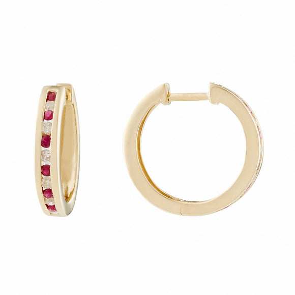 9ct Yellow Gold Ruby & Diamond Huggie Earrings