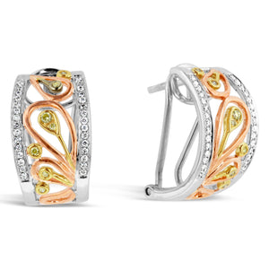 9ct Tri Tone Gold Diamond Paisley Huggie Earrings
