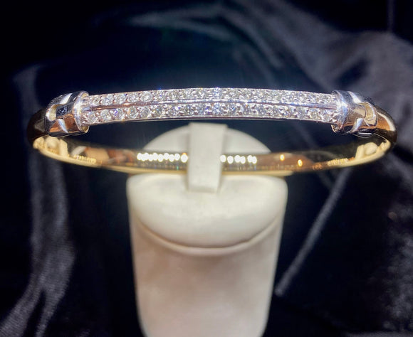 9ct Two Tone Diamond Hinge Bracelet