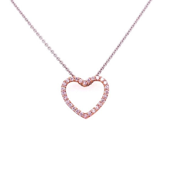 18ct Two Tone Pink Argyle Diamond Heart Necklace