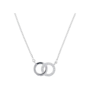 9ct White Gold Diamond Circle Necklace