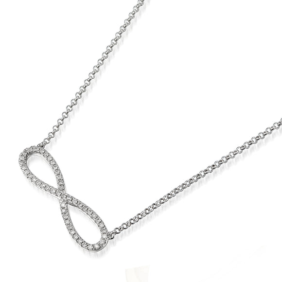 9ct White Gold Diamond Infinity Necklace