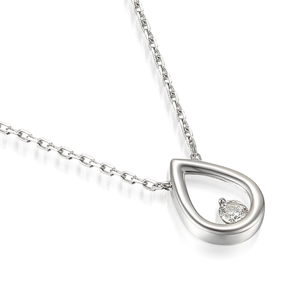 9ct White Gold Diamond Open Pear Necklace