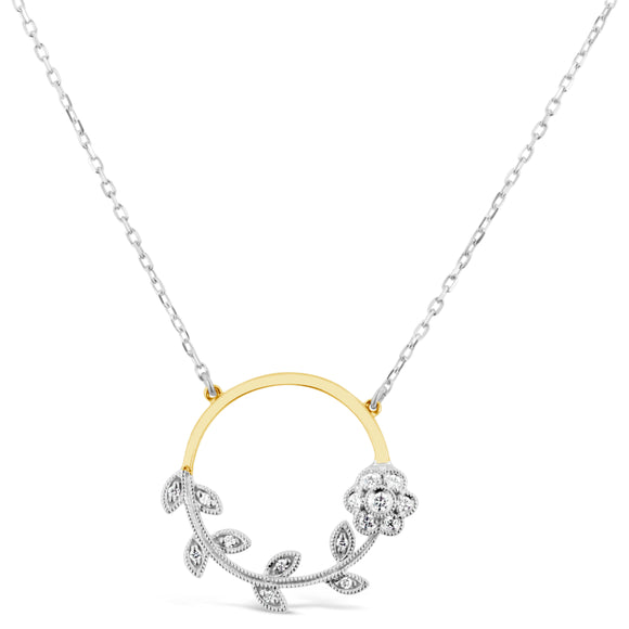 9ct Two Tone Diamond Circle Filigree Floral Necklace