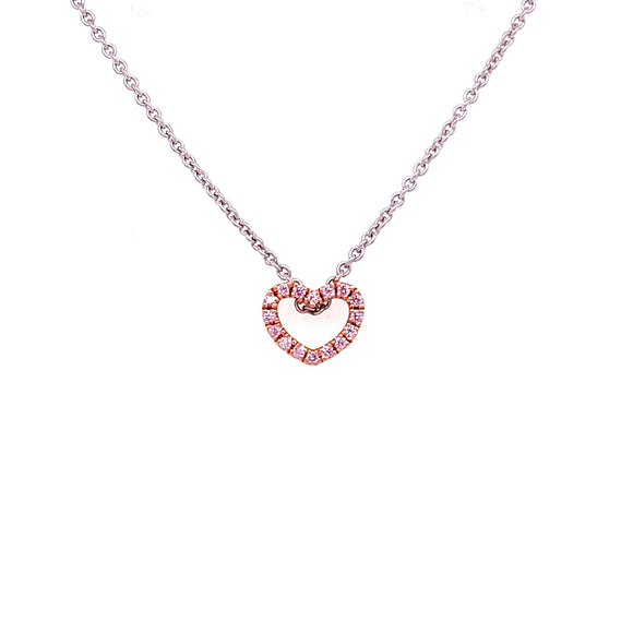 18ct Rose Gold Pink Argyle Diamond Heart Necklace