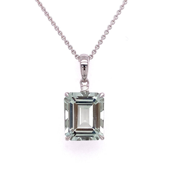 9ct White Gold Green Amethyst Diamond Dress Pendant