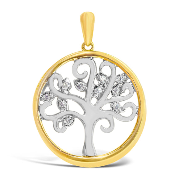 9ct Two Tone Gold Diamond Tree of Life Pendant