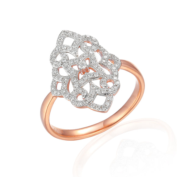 9ct Rose Gold Filigree Diamond Dress Ring