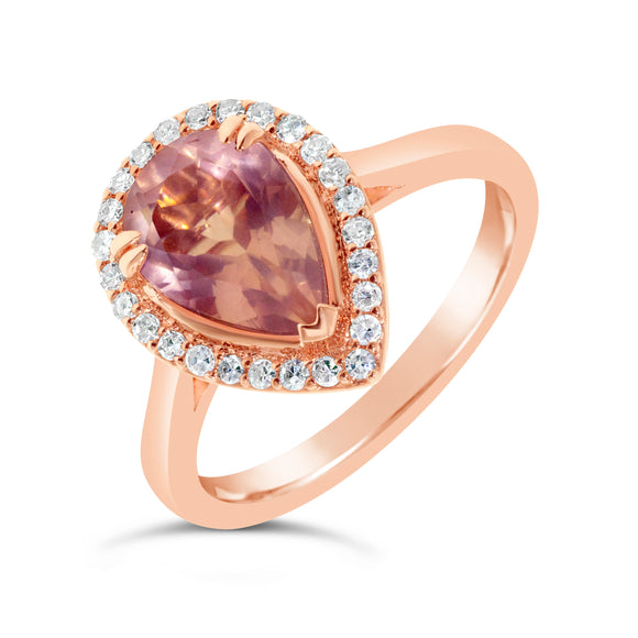 9ct Rose Gold Pear Cut Amethyst Diamond Halo Ring