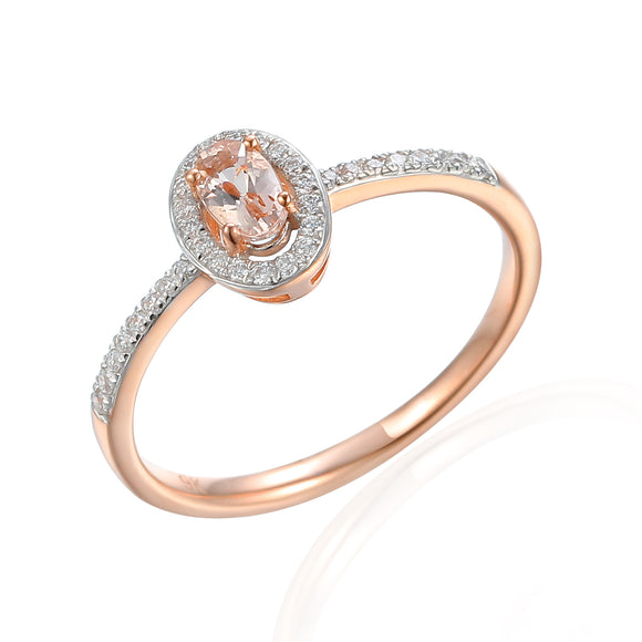 9ct Rose Gold Diamond Halo Ring