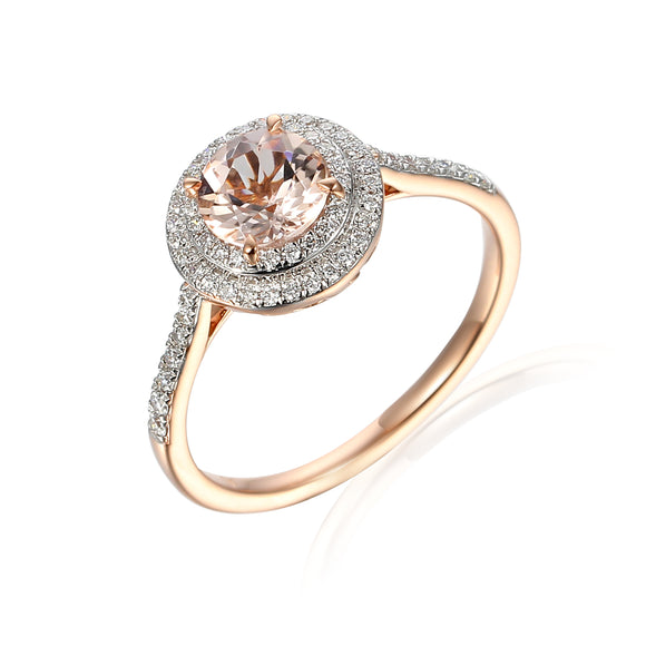 9ct Rose Gold Diamond Double Halo Ring