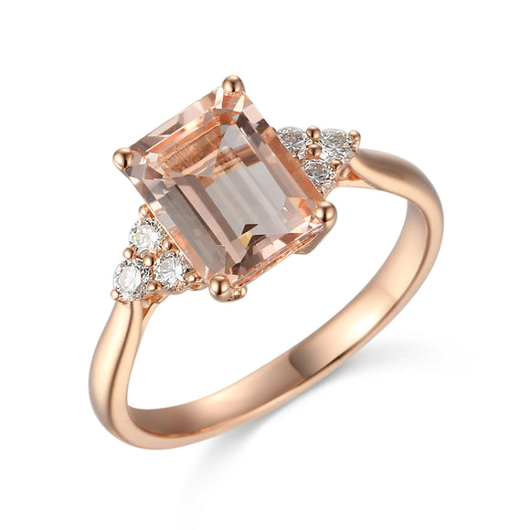 9ct Rose Gold Morganite-Beryl Antique Diamond Dress Ring