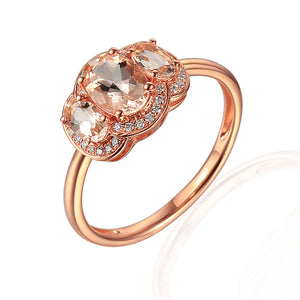 9ct Three Stone Rose Gold Morganite-Beryl Diamond Halo Ring