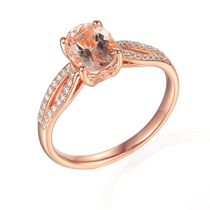 9ct Rose Gold Brilliant Cut Morganite Beryl Diamond Ring