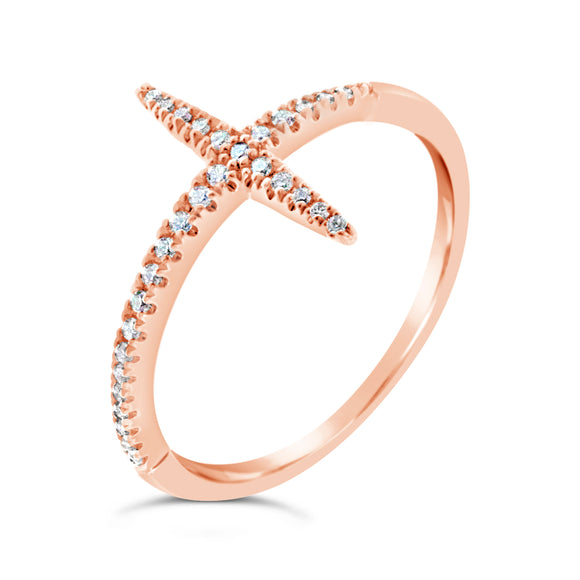 9ct Rose Gold Sideways Cross Diamond Dress Ring