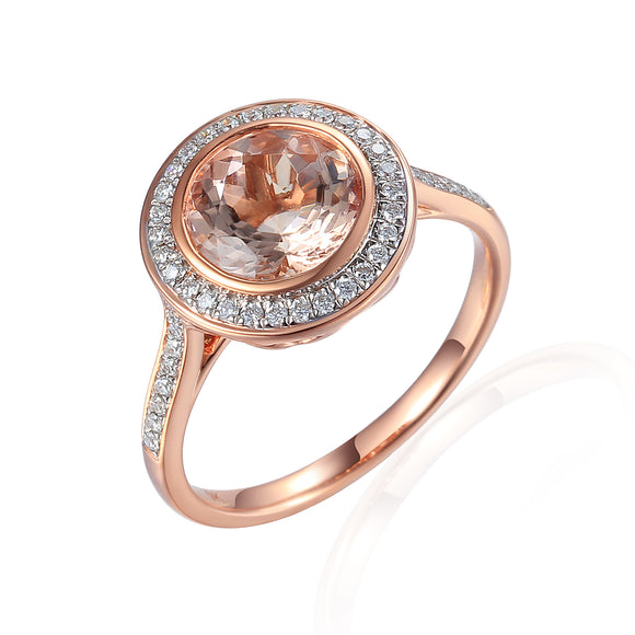 9ct Rose Gold Brilliant Cut Morganite Beryl Diamond Halo Ring