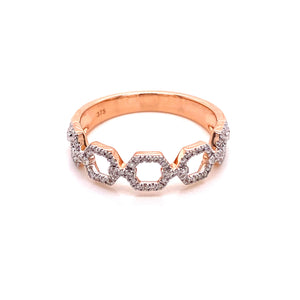 9ct Rose Gold Chain Lind Diamond Dress Ring