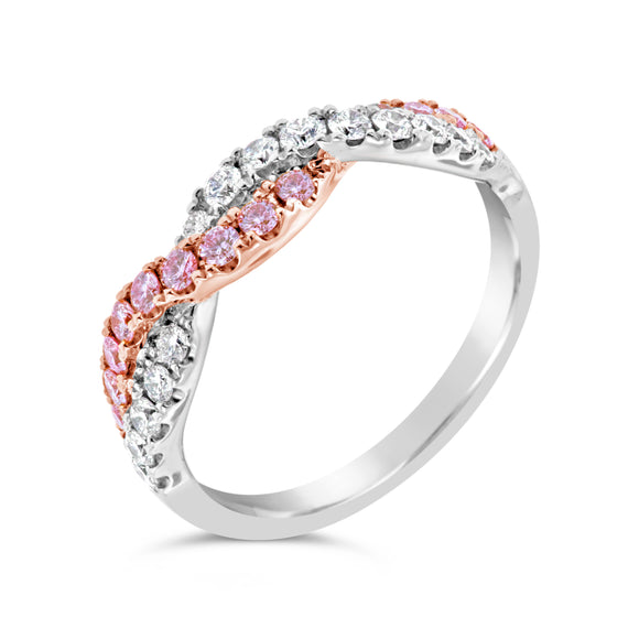 18ct Two Tone Pink Argyle Diamond Ring