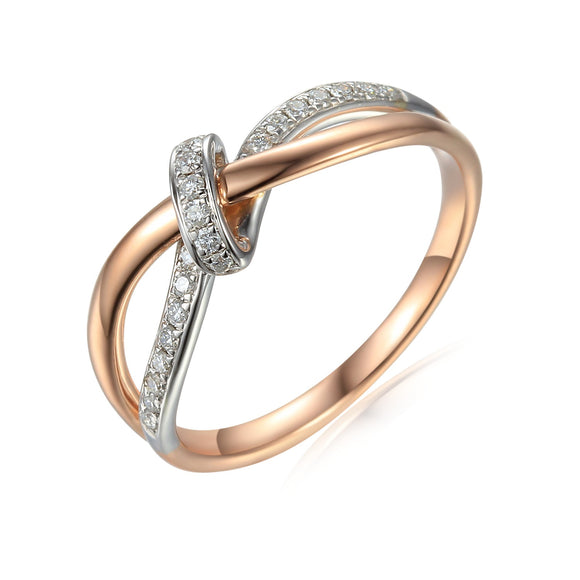 9ct Two Tone Bow Diamond Dress Ring