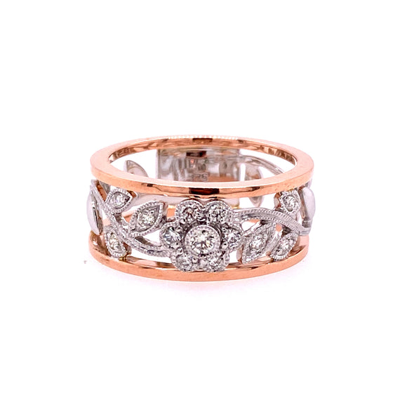 9ct Two Tone Gold Filigree Flower Diamond Dress Ring