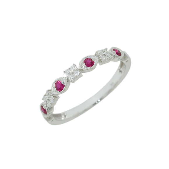 9ct White Gold Ruby or Sapphire Diamond Dress Ring