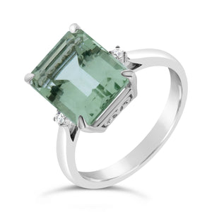 9ct & 18ct White Gold Green Amethyst Diamond Ring