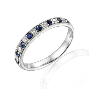 9ct White Gold Alternating Diamond Ring