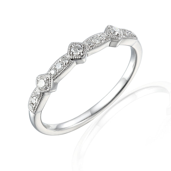 18ct White Gold Alternating Diamond Ring