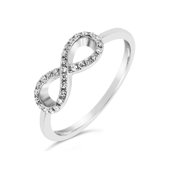 9ct White Gold Infinity Diamond Dress Ring