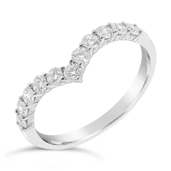 18ct White Gold V Shape Diamond Ring