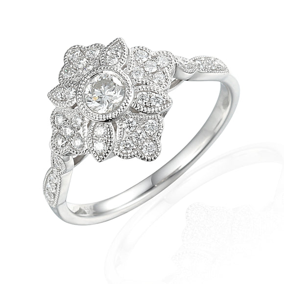9ct White Gold Antique Flower Diamond Ring