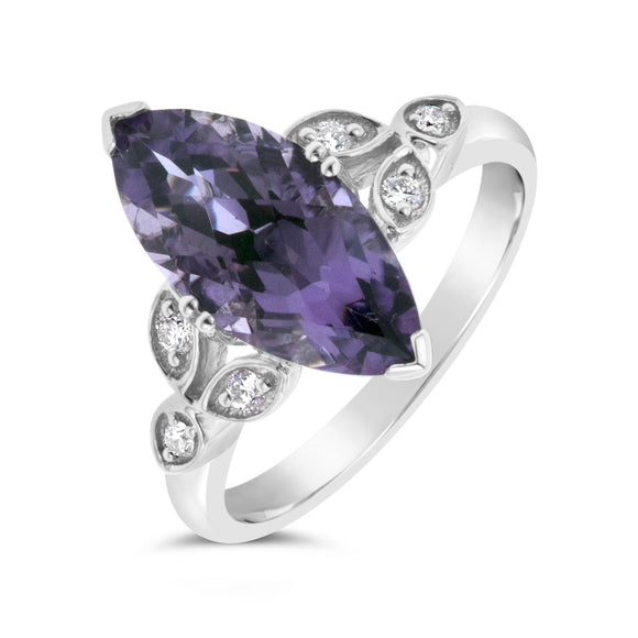 9ct White Gold Antique Diamond Amethyst Ring