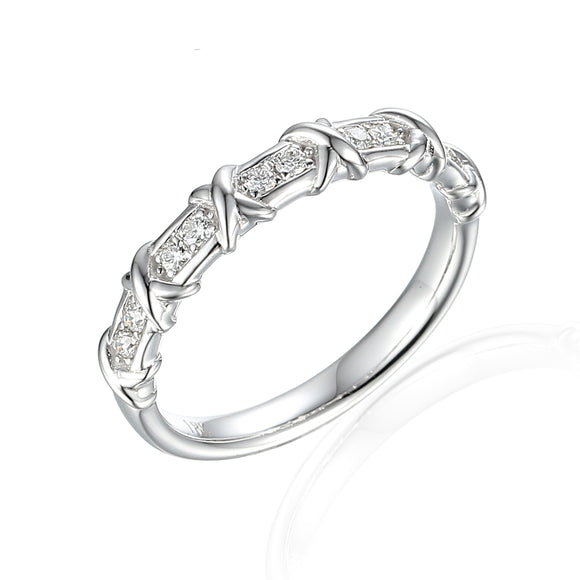 18ct White Gold Cross Dress Diamond Ring