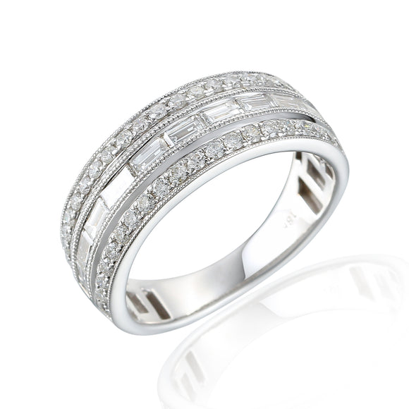 18ct White Gold Baguette Row Diamond Ring